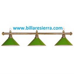Lámpara billar 3 tulipas verde metal 165cm