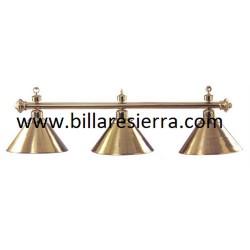 Lámpara billar 3 tulipas dorada metal 165cm