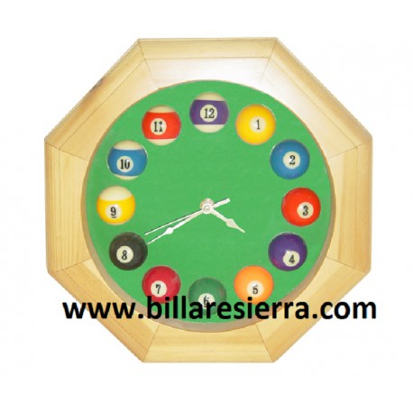 Reloj de pared billar en madera