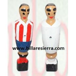 Muñeco Futbolin Madera Blanco / Blanco y Rojo