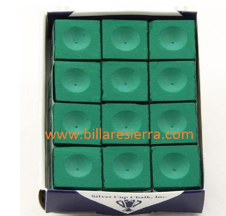 Caja con 12 tizas de billar Silver Cup